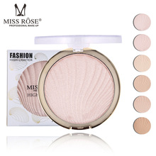 Miss Rose 6 Color Highlighter Brighten Powder Palette Long Lasting Easy to wear Bronzer Glow Whiten Concealer Base Face Makeup