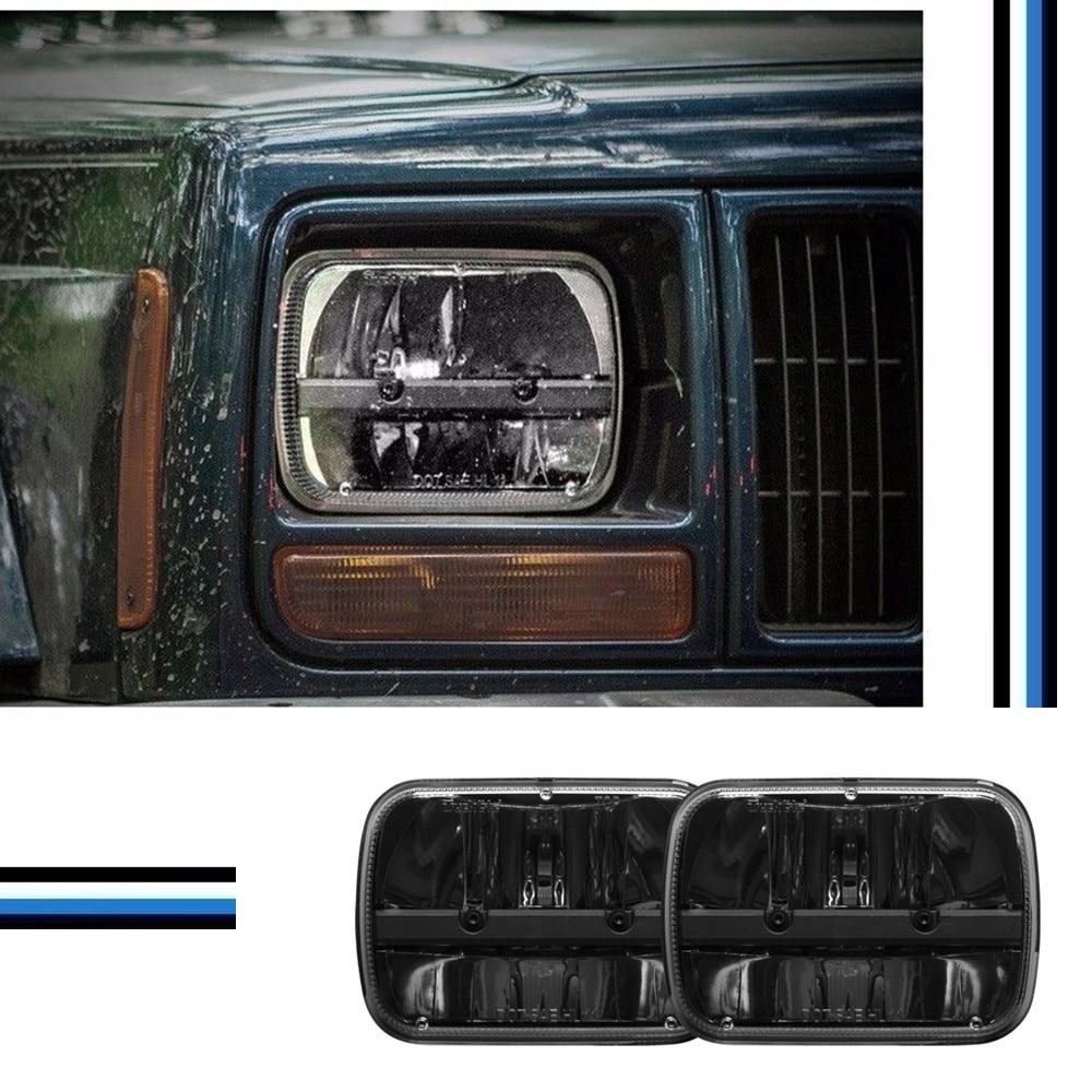 2 PCS Truck 5x7 Rectangular LED Headlight Kit  Hi / Low Beam Headlights For Jeep YJ Wrangler XJ Cherokee MJ Comanche 5 x7 6 x7 high low beam led headlights for jeep wrangler yj cherokee xj h6054 h5054 h6054ll 69822 6052 6053 with angel eye