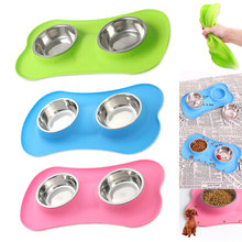 Dog Bowl Double Travel Pet Dry Food Bowls for Cats Dogs Outdoor Drinking Water Fountain Dish Feeder Goods