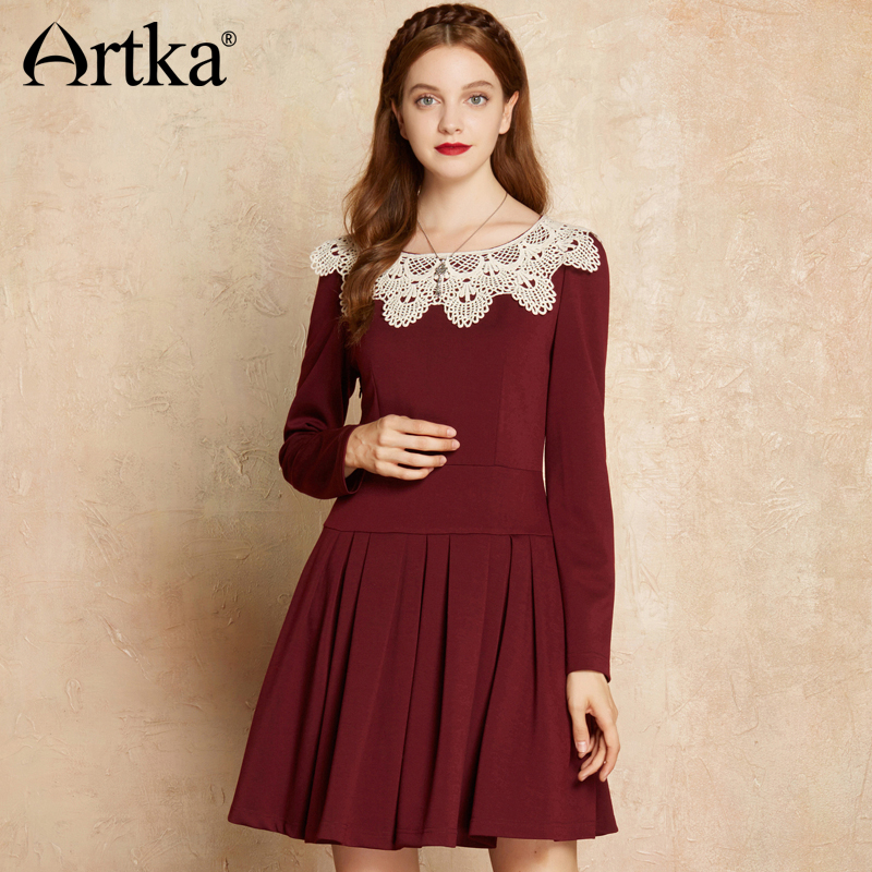 Artka New Spring Winter New Women Sheatth Dress Contrast Color Hooked Collar Slim Vintage Pleated Literary Dress LA10472Q maison jules new junior s medium m pink dotted pleated contrast knit dress $79