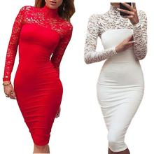 Turtleneck Long Sleeve Lace Midi Sexy Club Bandage Bodycon Dress 2016 Autumn White Red Black Women Elastic Elegant Party Dresses