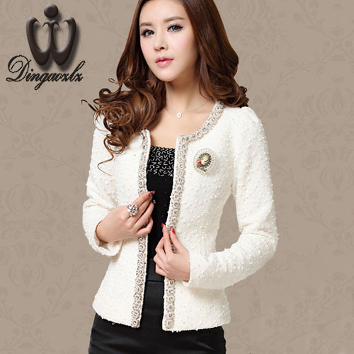 Dingaozlz Autumn-Winter coat short design Women Outerwear Elegant Beaded Diamond slim Long sleeve Plus size Small jacket M-XXXL