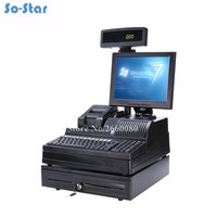 POS SystemTerminal Machine All in One for Supermarkets 12 inch LCD Monitor Cash Register with Receipt Printer & Cash Drawer