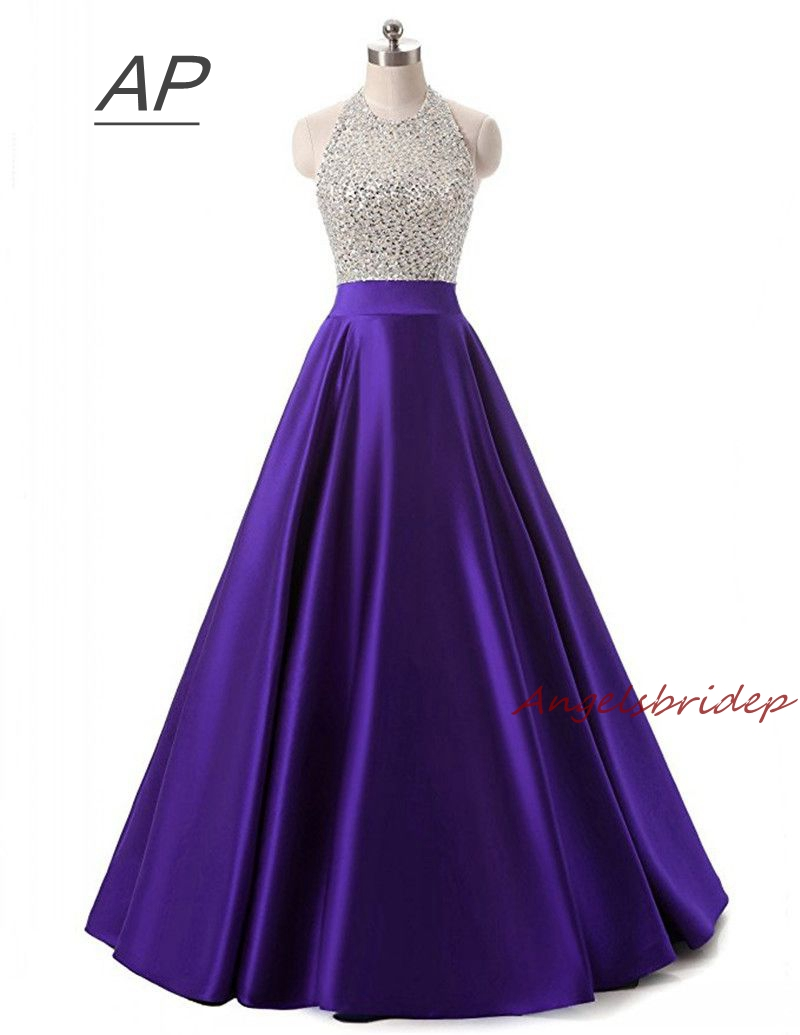 ANGELSBRIDEP Sparking Beading High Neck Vestido De Festa Prom Dresses Sexy Backless Full Length Formal Pageant
