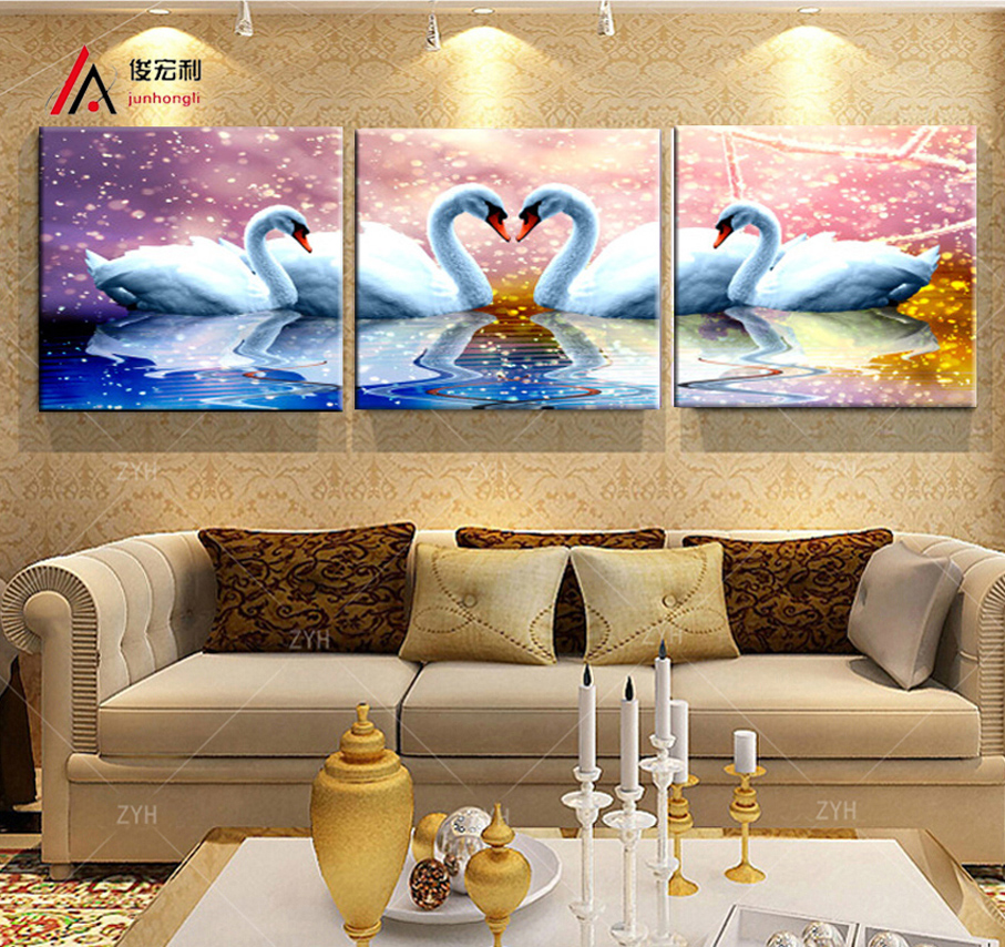 Online Shop 3 Picec High Resolution Picture Printed White Swan Fantasy Modern Living Room Bedroom Decorated Restaurant Corridor Canvas Print