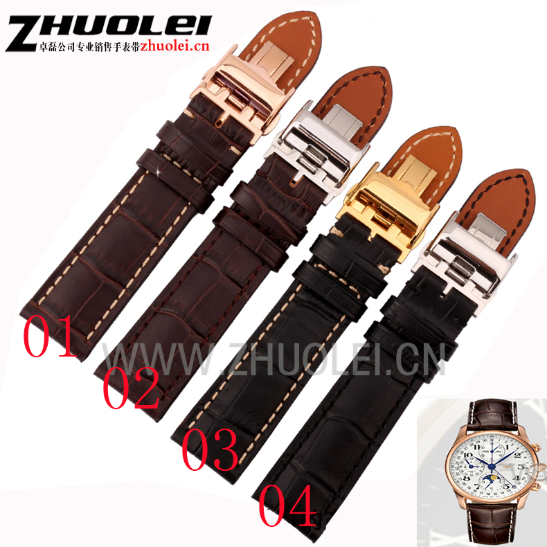 18mm 19mm 20mm 21mm 22mm black brown Genuine leather watchband with deployment clasp buckle strap for L2 L4 Wrist watch brand купить недорого в Москве