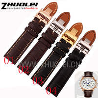 18mm 19mm 20mm 21mm 22mm Black Brown Genuine Leather Watchband With Deployment Clasp Buckle Strap For