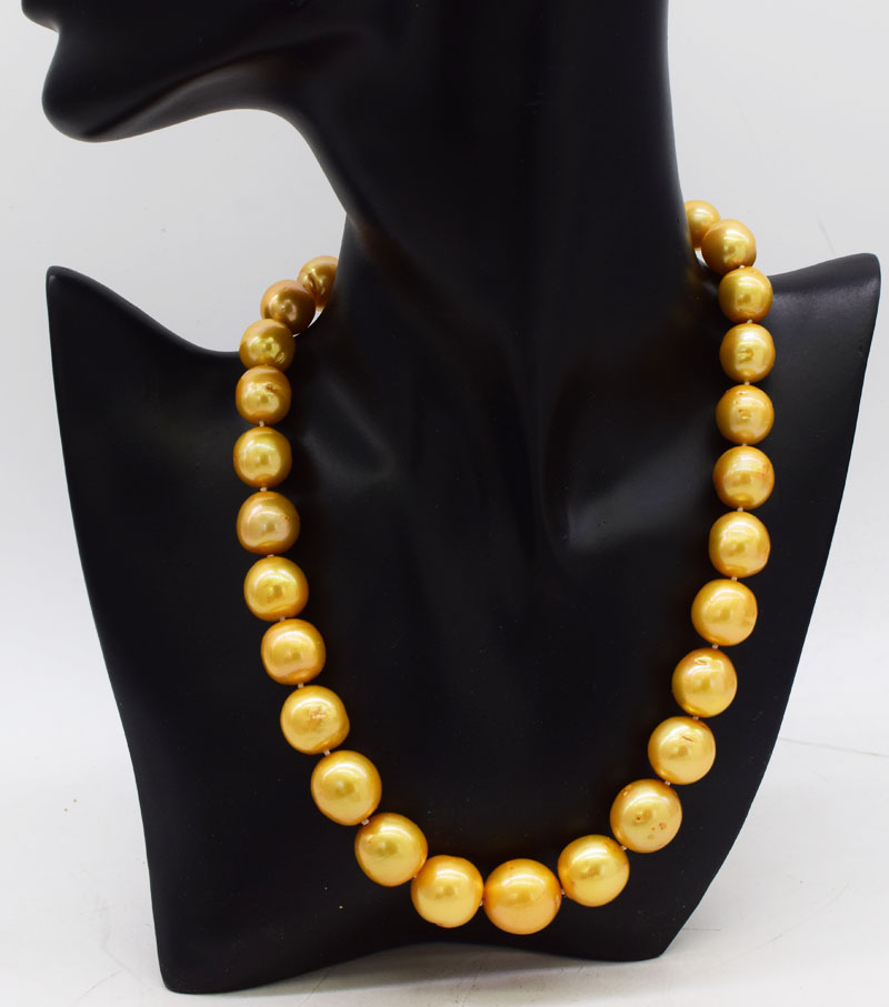 freshwater pearl GOLDEN near  round 12-16mm EDASION necklace 18inch  big size wholesale bead nature gift discount for woman FPPJfreshwater pearl GOLDEN near  round 12-16mm EDASION necklace 18inch  big size wholesale bead nature gift discount for woman FPPJ