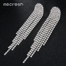 Mecresh Classic Rhinestone Wedding Drop Earrings for Brides Silver Color Bridal Long Tassel Hanging Jewelry MEH1423