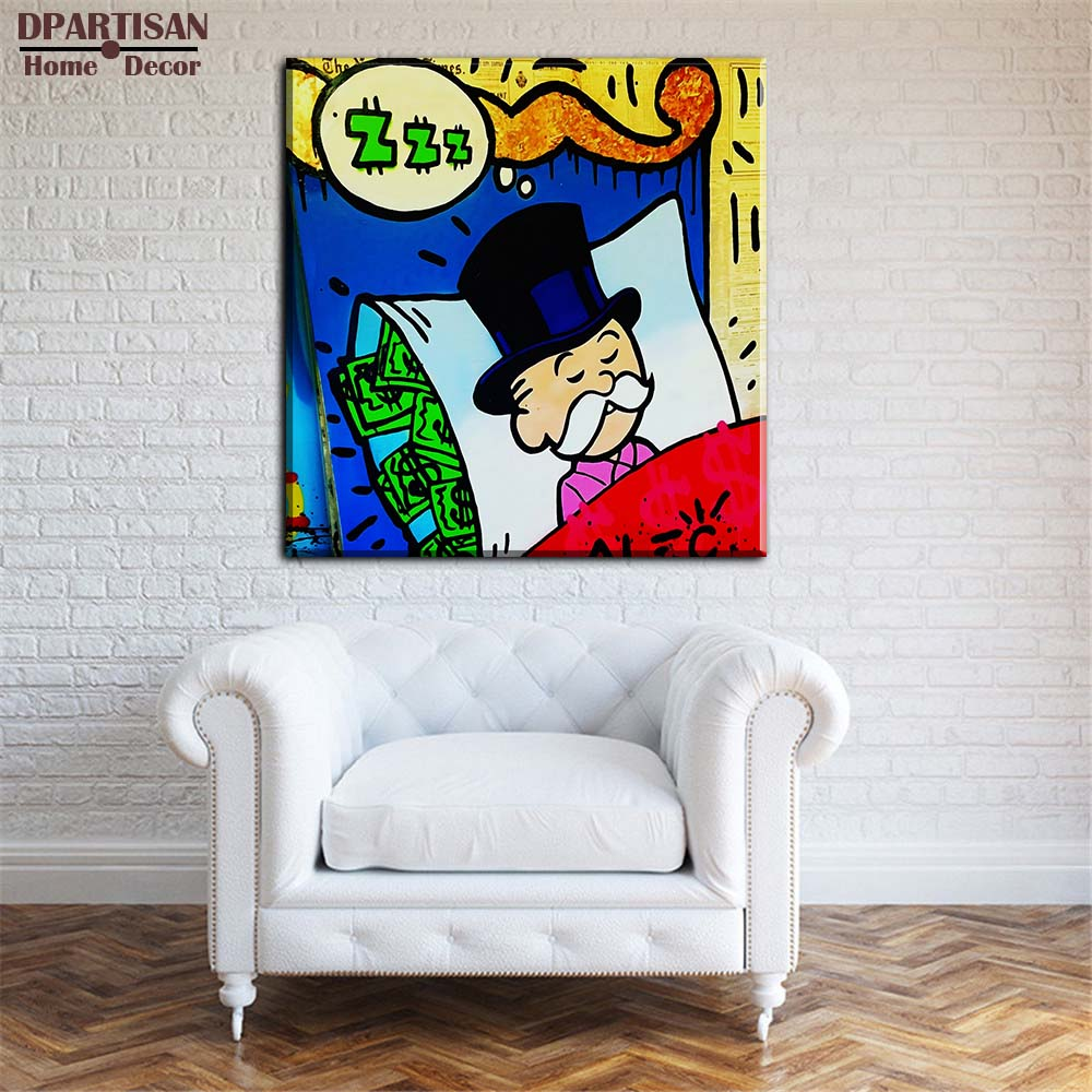Graffiti art home decor - Aliexpress Com Buy Dpartisan Alec Monopoly Sleeping Idea Huge New Graffiti Art Print On Canvas For Wall Picture Decor Oil Painting No Frame M30 From