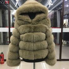 Лисица высокого качества Меховая куртка пальто зимнее женское плотное пальто из лисьего меха натуральная лисица зимняя куртка с отделкой из меха женская теплая меховая куртка пальто