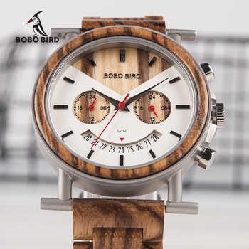 BOBO BIRD Wooden Men Watch Stainless Steel Waterproof Wristwatch with Date and Multiple Time Zone reloj hombre Men\'s Gift W-R06