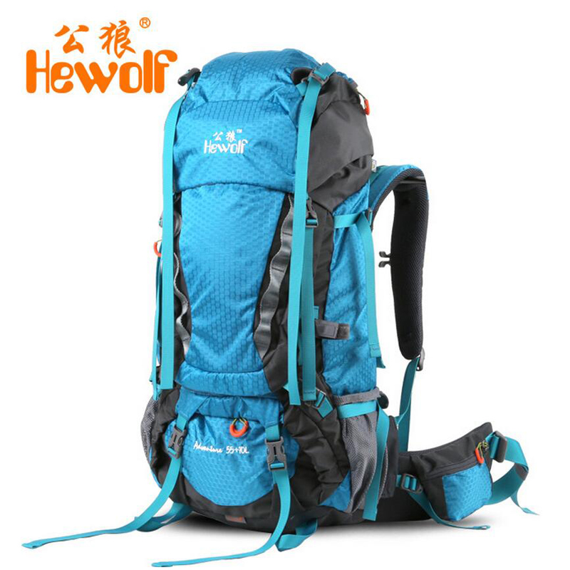 Hewolf 65L professional mountaineering bag rucksack Outdoor Camping hiking backpack hunting fishing rain cover backpack travel lemochic high 65l outdoor mountaineering bag waterproof sport travel backpack camping hiking shiralee luggage canvas rucksack