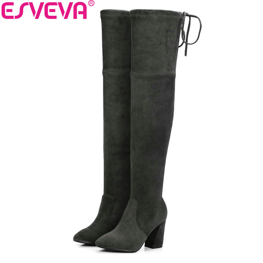 ESVEVA 2018 Women Boots Slim Look Boots Square High Heel Round Toe Over The Knee Boots Pointed Toe Sexy Ladies Boots Size 34-43 qutaa 2017 women over the knee high boots all match pointed toe high quality thin high heel pointed toe women boots size 34 43