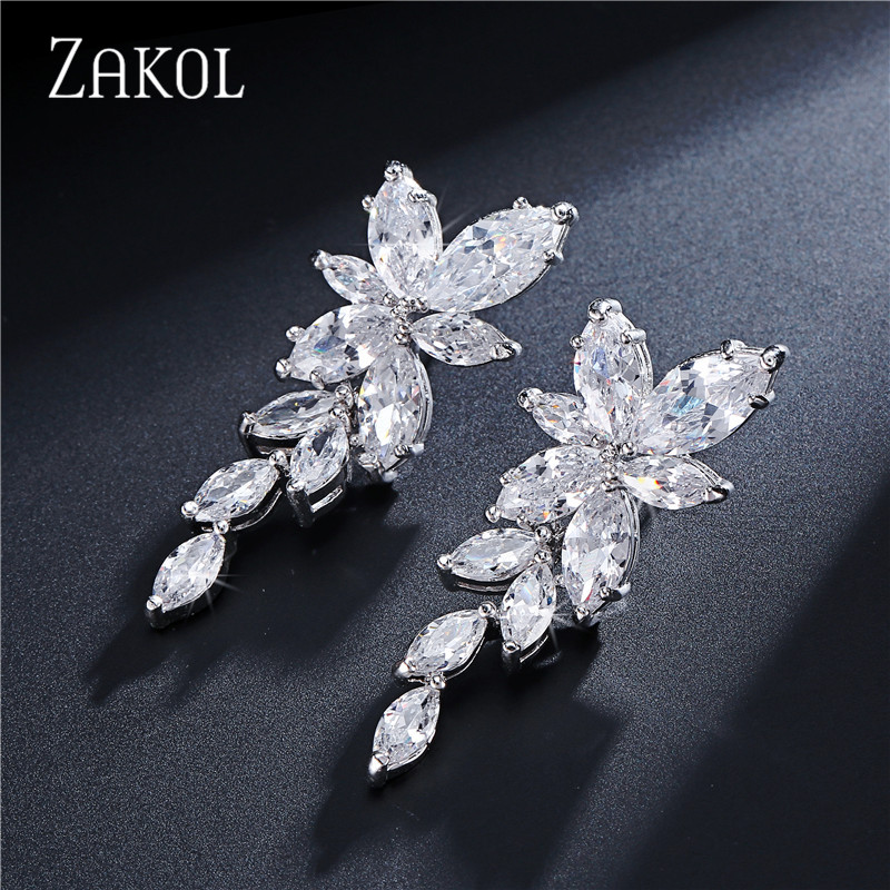 ZAKOL Marquise Cut Cluster Flower Cloud Zirconia Crystal Long Dangle Drop Ականջօղեր Shiny Leaf Bridal Wedding Wedding Jewelry for FSEP167