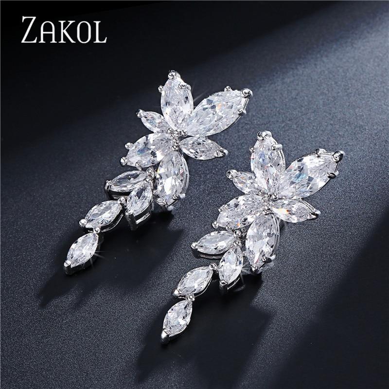 1ad1fd7c1c04 ZAKOL Marquise Cut Flower Cluster Zirconia Cristal Largo Cuelga Los  Pendientes de Gota de la Hoja