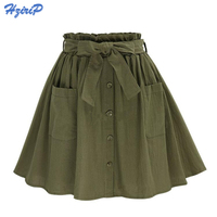 2017 Women S Skirts Vintage High Waist Pocket Solid Bow Belt Midi Skirt New Arrival Summer