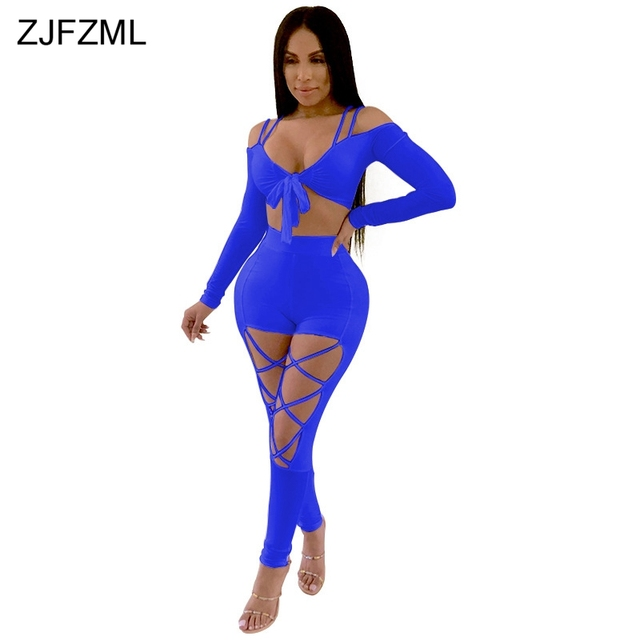 fd33264cef6 ZJFZML Sexy Solid Two Piece Set 2018 Women V Neck Full Sleeve Cropped Top  And Cross Lace Up Bandage Long Pant Casual 2 Pcs Suits