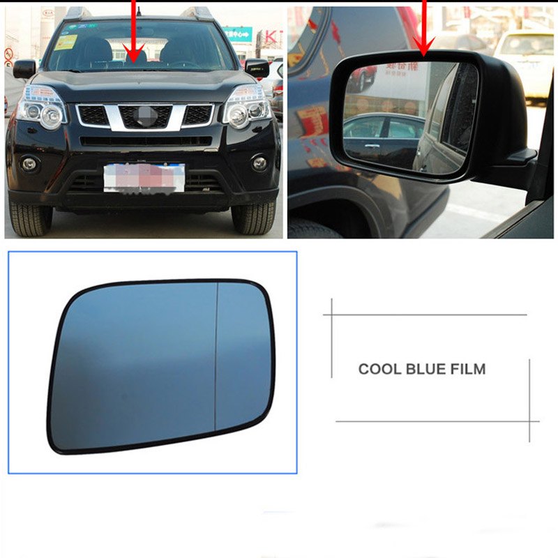 Power Heated Blue Wide Angle Sight Side Rear View Mirror Glasses For Nissan X Trail 2008 2012