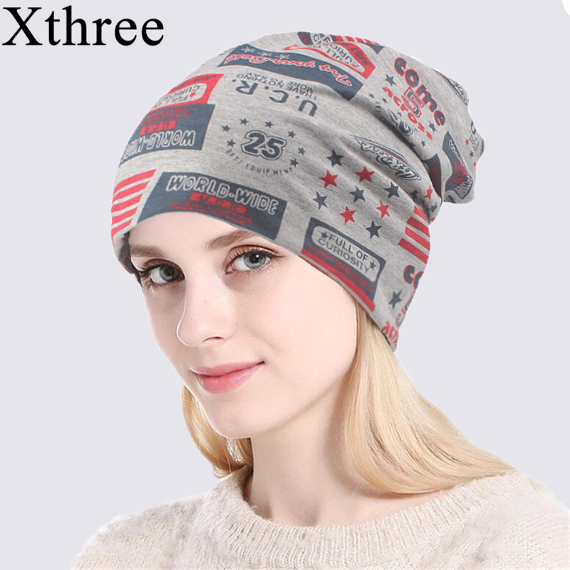 Xthree Autumn Hat Skullies Women Beanies Cotton Balaclava Army Unisex Spring Thin National-Flag