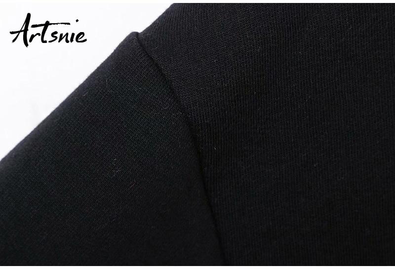 Artsnie Spring 19 Black Casual Knitted Sweatshirt Women O Neck Long Sleeve Loose Pullovers Letter Streetwear Sweatshirts Mujer 14