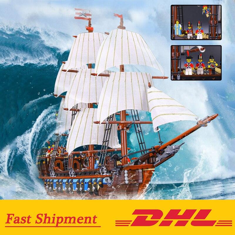 Dhl 22001 해적선 군함 모델 빌딩 블록 briks 호환 10210 교육 어린이 장난감 생일 선물-에서블록부터 완구 & 취미 의  그룹 1