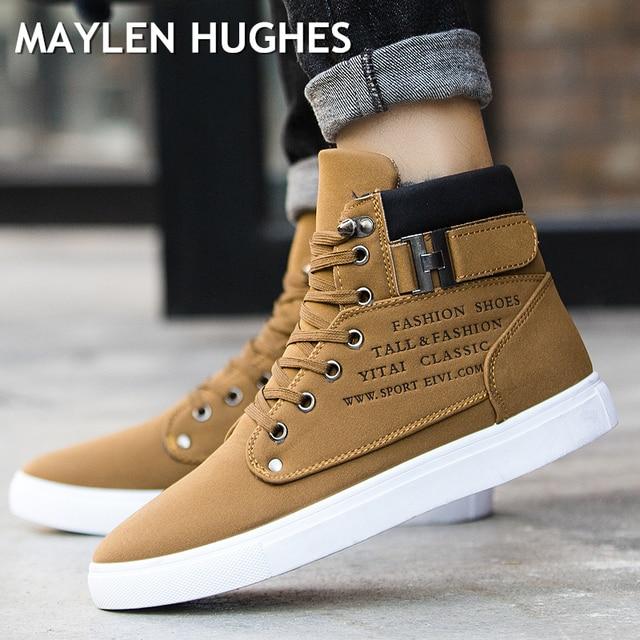 2018 Hot Men buty moda ciepłe zimowe śnieg buty męskie buty jesienne obuwie skórzane dla człowieka nowe wysokie góry płócienne obuwie męskie