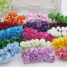 12 шт./лот, 1,5 см, искусственные маленькие бумажные розы ручной работы, товары для вечеринок, свадебные украшения автомобиля, искусственные цветы