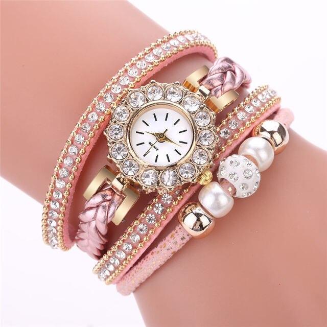 New Fashion Casual Quartz Women Rhinestone Watch zegarek damski Braided Leather
