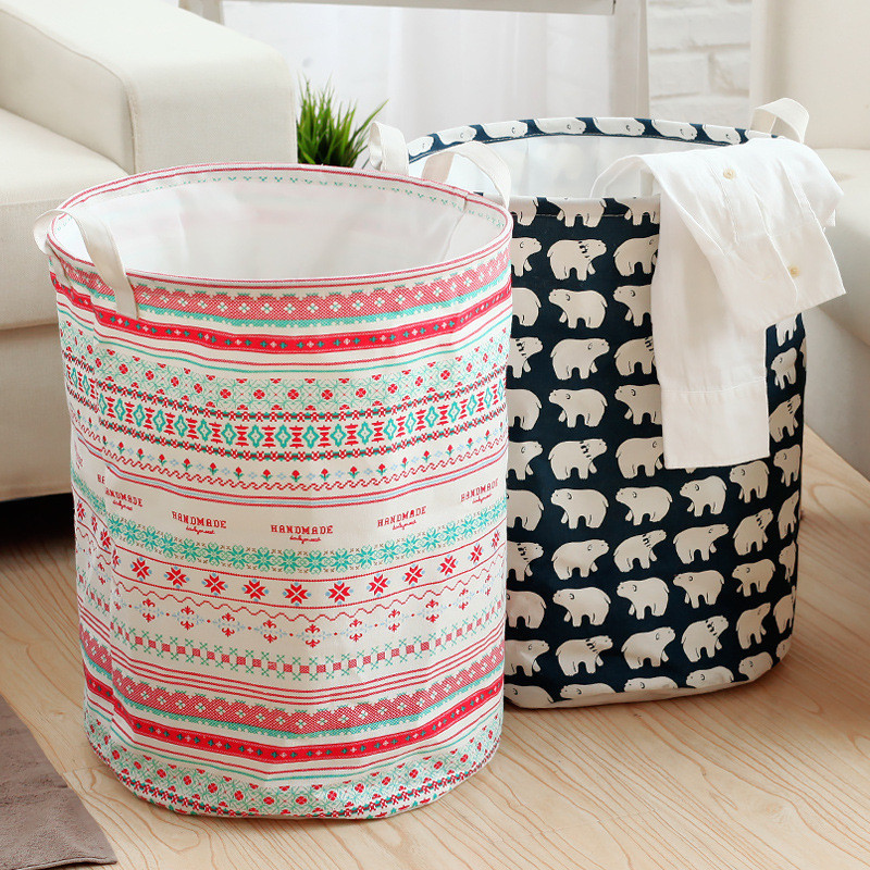 11 Styles Canvas Laundry Basket Blue Stripe Pattern