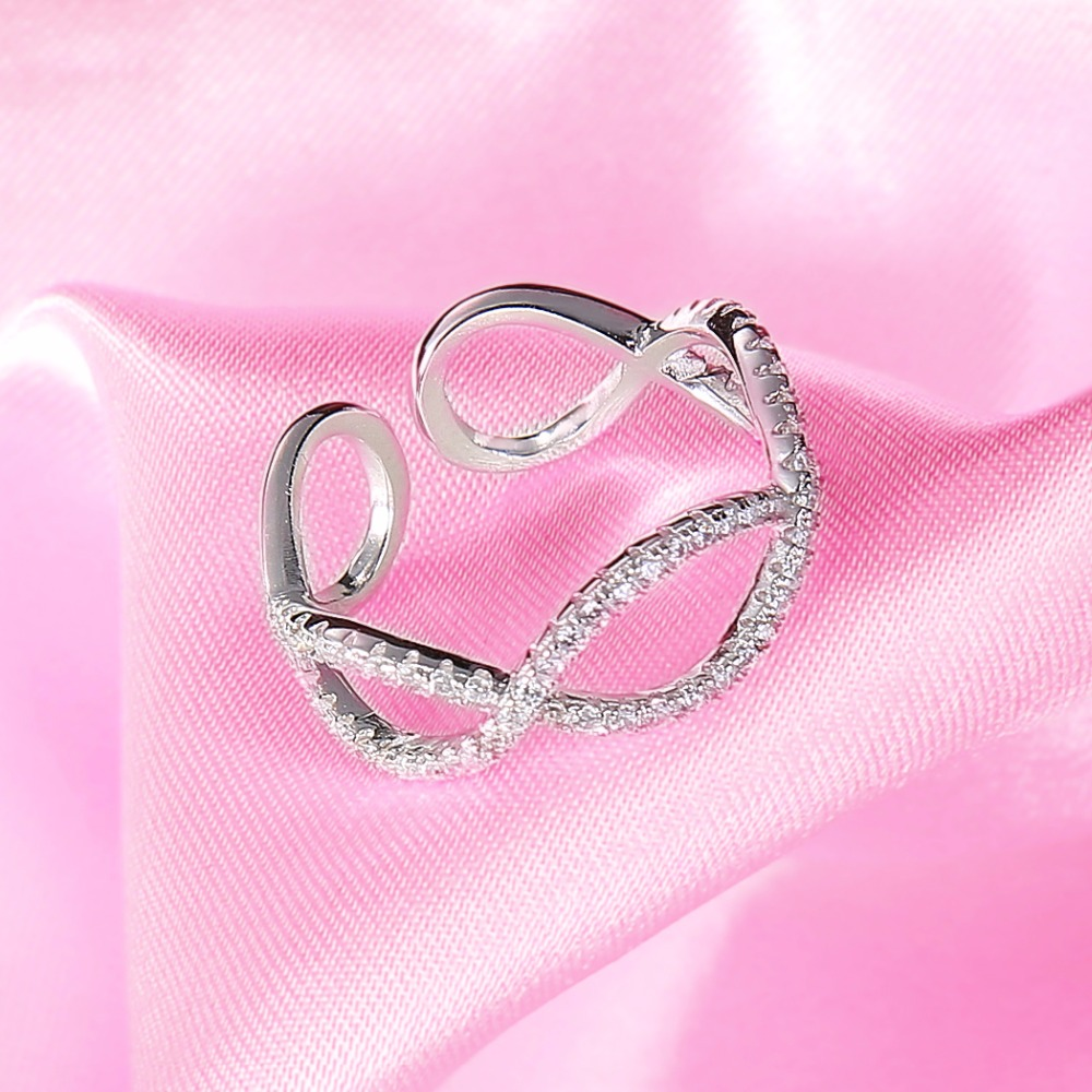 BELLA Fashion Simple Style 925 Sterling Silver Bridal Ring Infinity ...