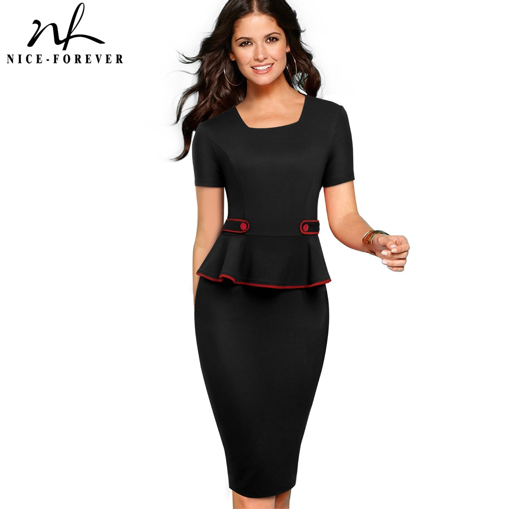 Nice Forever Career Women Pure Color Office Button vestidos Business Work Bodycon Sheath Peplum Female Dress