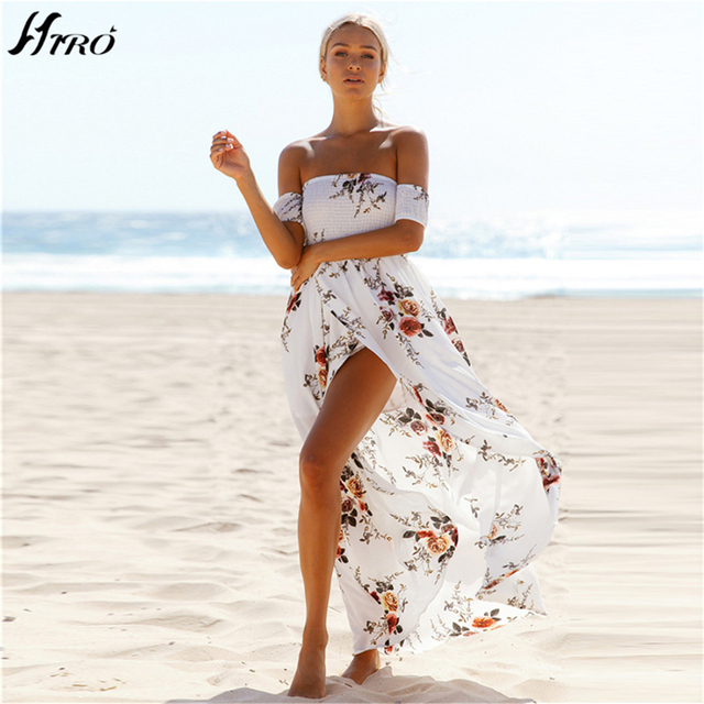 2017 Beach Summer Dresses Boho Style Long Dress Women Off Shoulder Floral  Print Vintage Chiffon Sex Max Dress Vestidos De Fiesta e39aa1259079