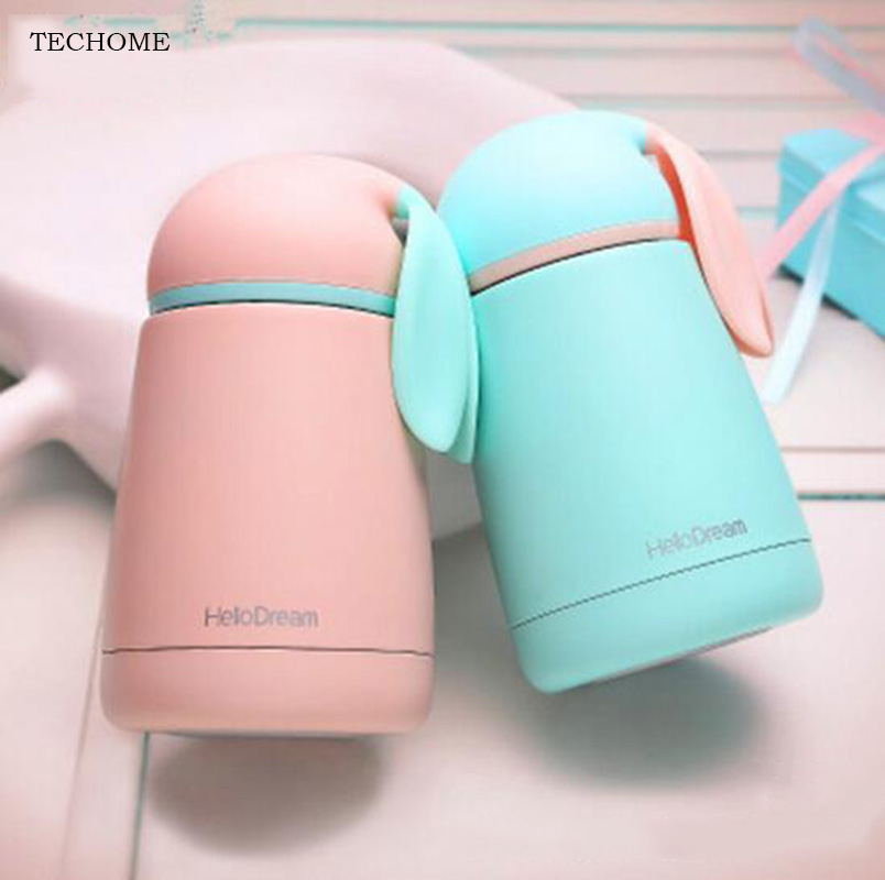 300ml Baby Bottle Rabbit Thermos Cup Stainless Steel Vacuum Bottle Children Kids Travel Thermal Bottle Baby Insulation Cup Gifts
