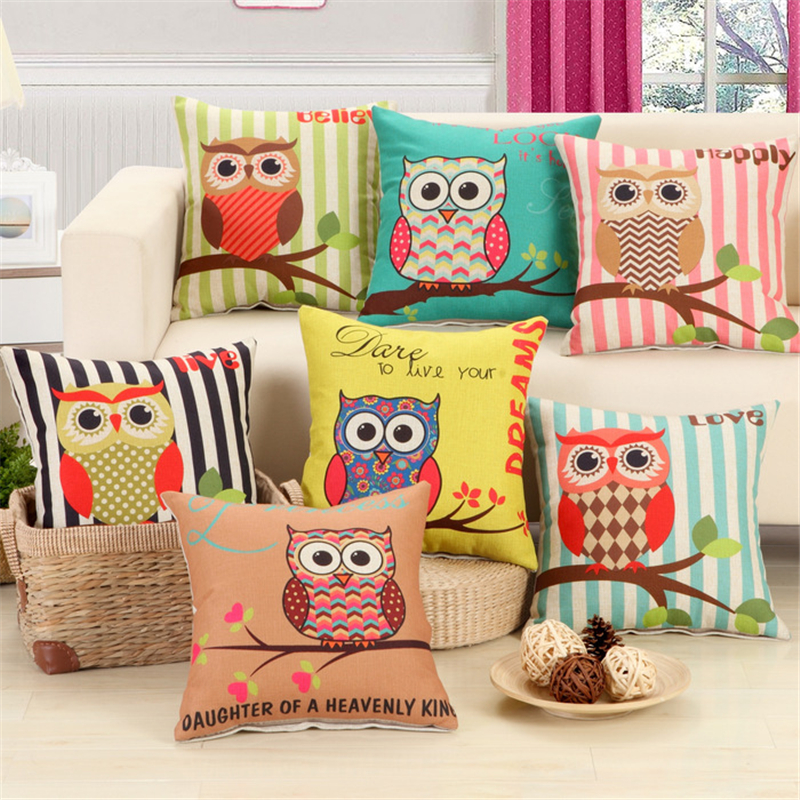 Colorful Striped Owl Household Pillowcase Cushion Linen Fabric Home Office  Sofa Decor Throw Pillow Cover Not Including Filling C