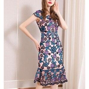 Image 3 - משרד ירך חבילת שמלת 3xl אביב 2019 גבירותיי נשים הברך אורך פרח מסיבת שמלה בתוספת גודל בציר רקמת שמלות קיץ