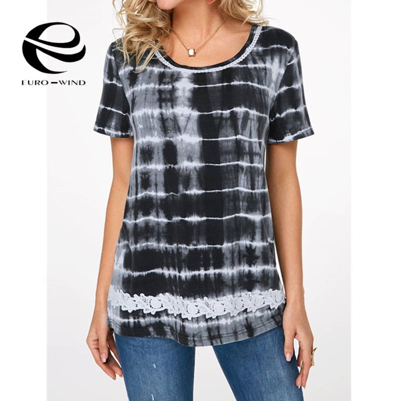 Plus size 5xl 2019 mulheres verão topo de manga curta o-pescoço impressão rendas camiseta roupas femininas 2019 camiseta topo femme camisa camisa mujer