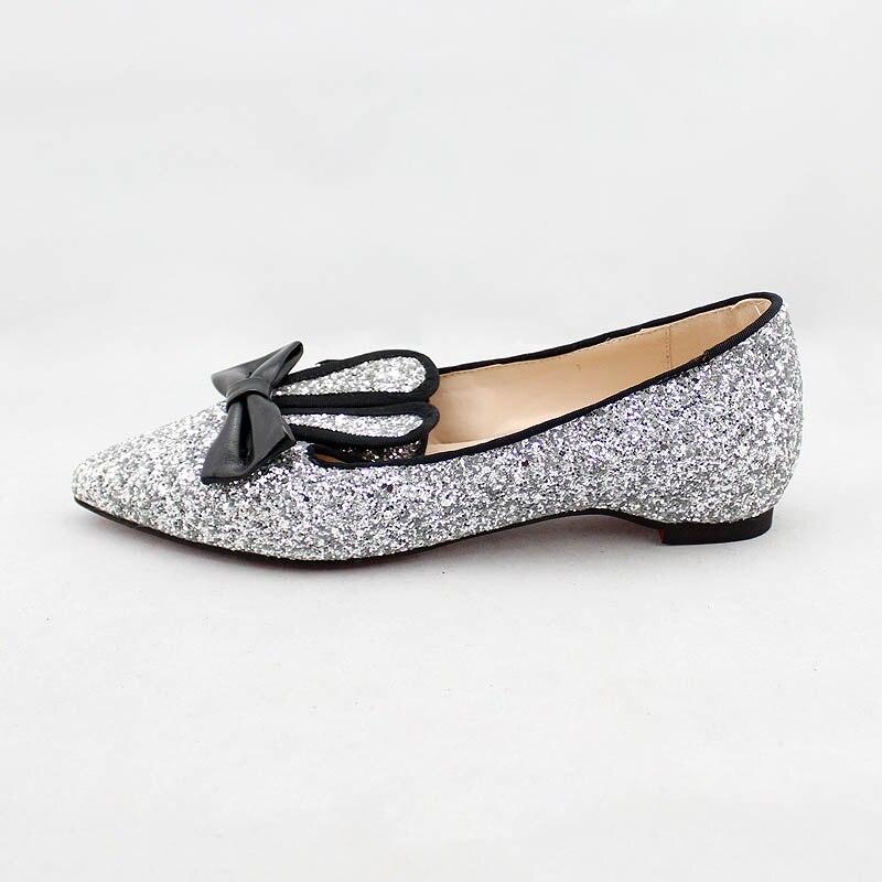 De Lapin Oreilles silver Black Appartements Mocassins Femme La Casual Noir Taille Glitter Bateau A57 Tissu Chaussures Bowtie Plus Femmes 32 48 A57 Argent Paillettes IXY7qB