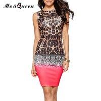 Leopard Print Dress Women 2016 Elegant Sexy Backless Women Summer Dress New Polyester Pink Bodycon Dress