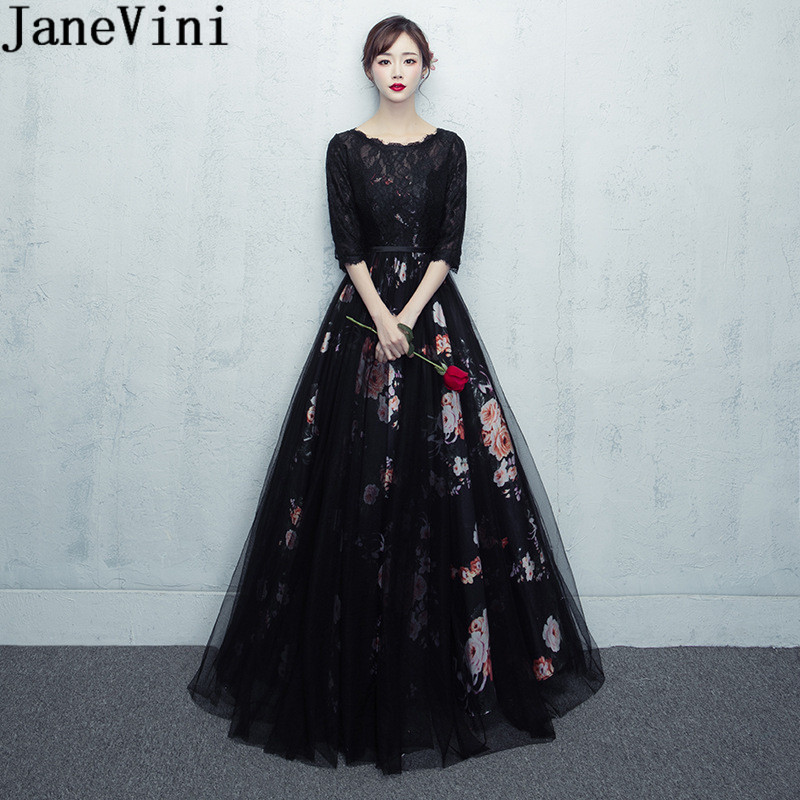 JaneVini Elegant Floral   Bridesmaid     Dresses   for Wedding Party Long Black Lace Flowers Print Formal Dinner   Dress   With Half Sleeves