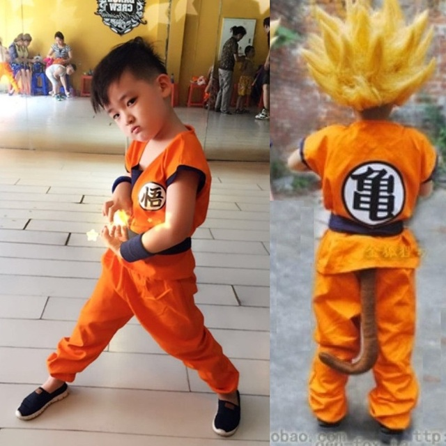 Adult/Childrens Anime Dragon Ball Z Monkey Cosplay Costumes Mens/Boys Son Goku Costume Kids Halloween Japanese Costume With Tail