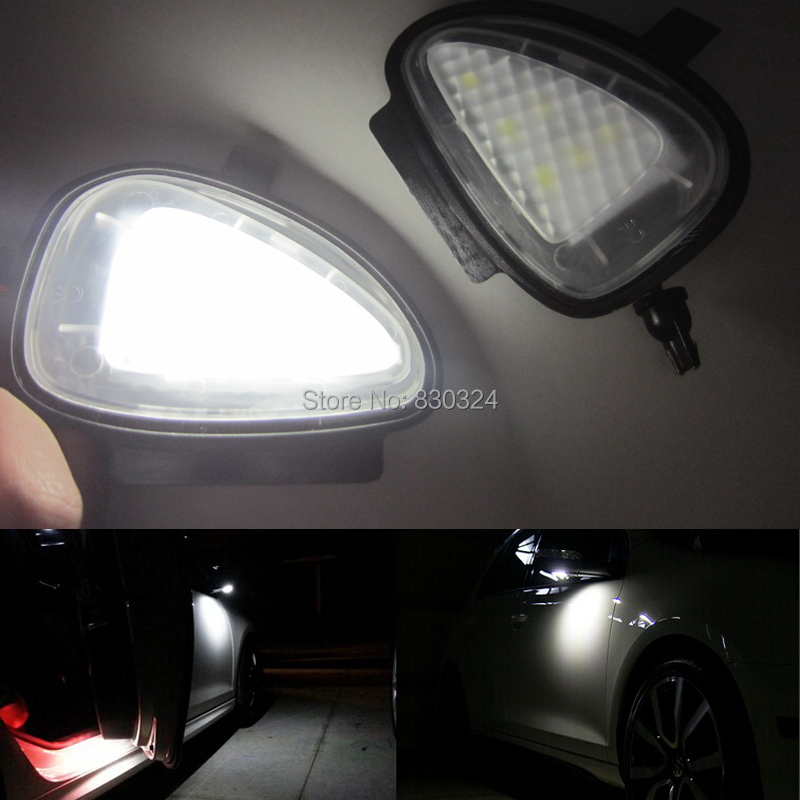 2x Error Free Led Side Door Mirror Puddle Light For Vw