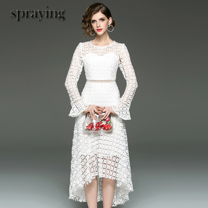 High Quality Boutique women clothes ladies temperament elegant dress long flare sleeve Hollow out lace dresses
