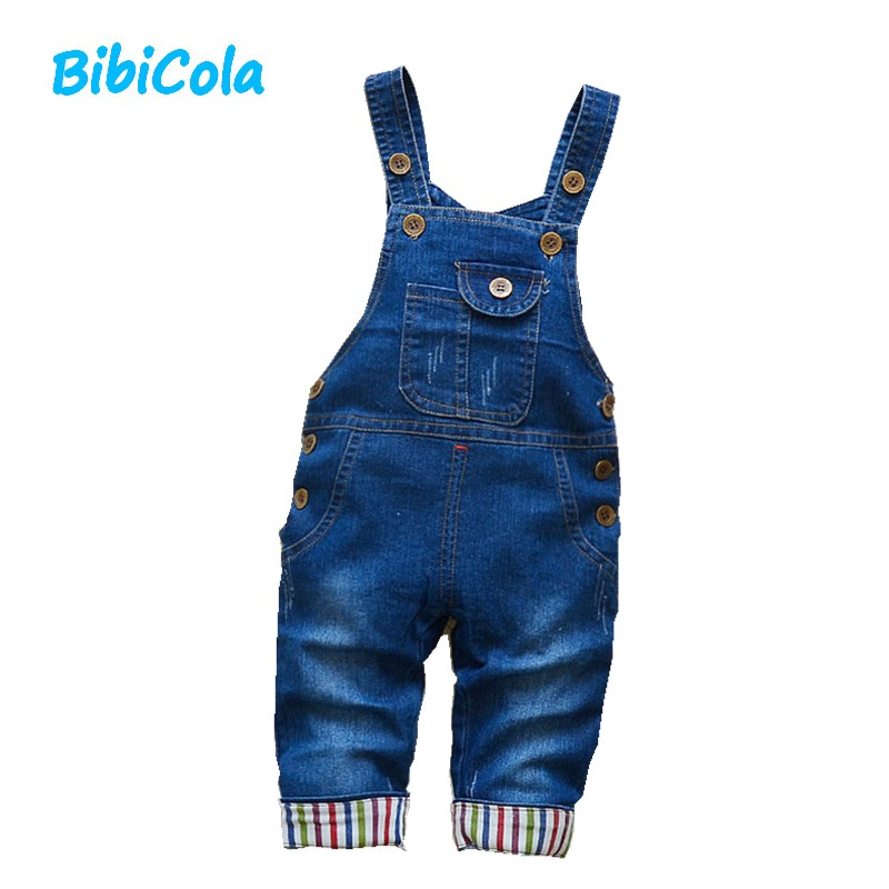 BibiCola autumn infant rompers baby pants denim overalls toddle children bib pants denim pants trousers for boys clothing