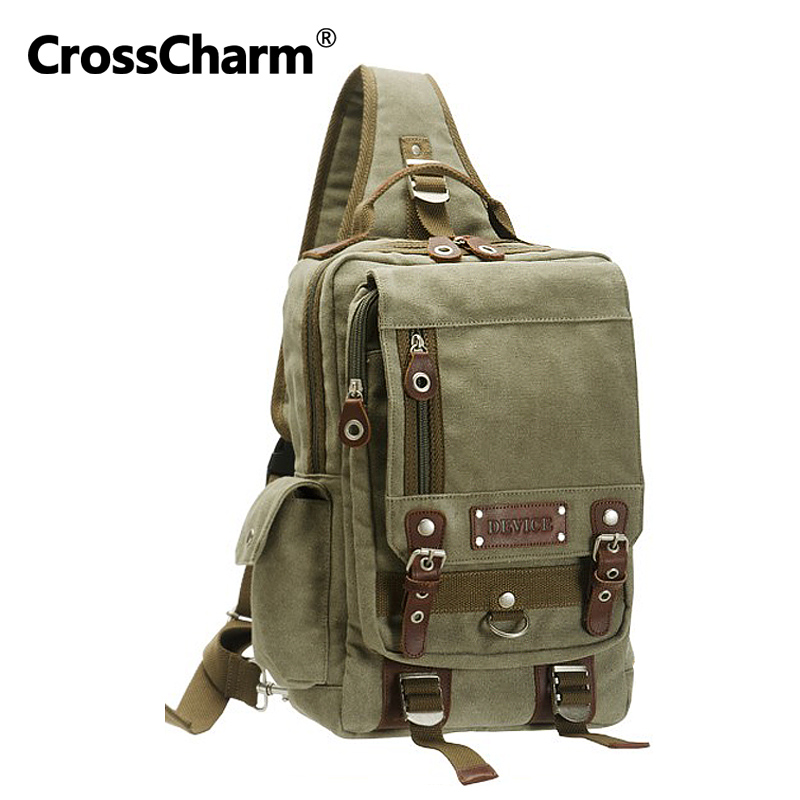 Cross Charm Fashion Men Sling Chest Pack Shoulder Backpack Canvas Leather Bag For A4 Satchel Rucksack For Man DBH-30038 2016 new lady chest pack female leather satchel leisure korean tide printing leather sports backpack bag chest free shipping