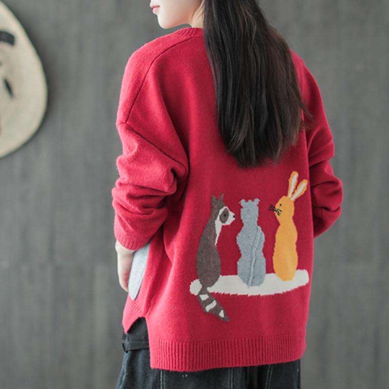 Johnature 2018 Autumn New Women Sweater Coats Knitted Cardigan Pockets Button V Neck Long Sleeve Mori Girl Print Cartoon Sweater