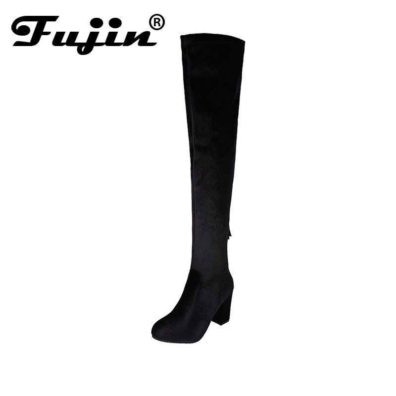 Fujin Brand New Arrival Faux Suede Slim Boots Sexy over the knee high women fashion winter thigh high boots shoes big size 35-43 цены онлайн