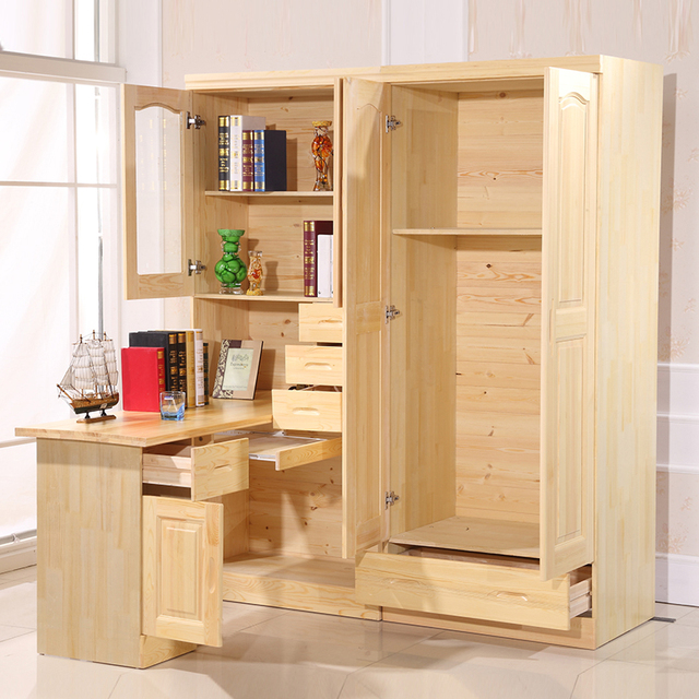 All Solid Wood Desk With Simple Desktop Home Computer Corner Bookcase Cabinet Turn Wardrobe Combination Book