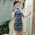 Chinese Women Stripes Cheongsam Evening Dress chi-pao elegant Chinese dress vestidos Size:S M L XL XXL XXXL 7colors