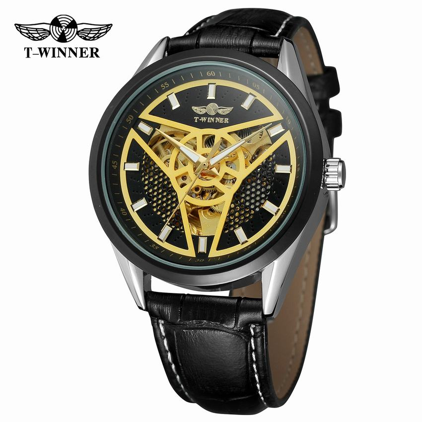 Automatical Mechanical Watches Men Luxury Brand Wrist Watch Male Clock Leather Wristwatch Men Skeleton Casual Business Watch